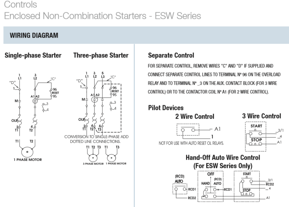 Wiring Diagram For A 3 Phase Motor Starter : Magnetic starters