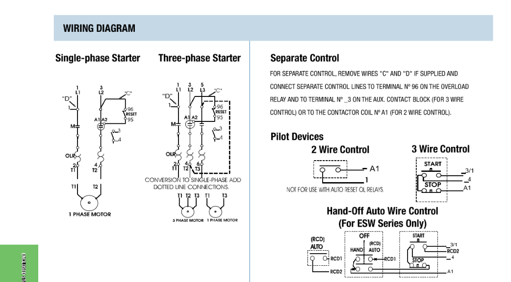 Weg-Mag-Starters 4 wire single phase motor connection Controls and Components HOME